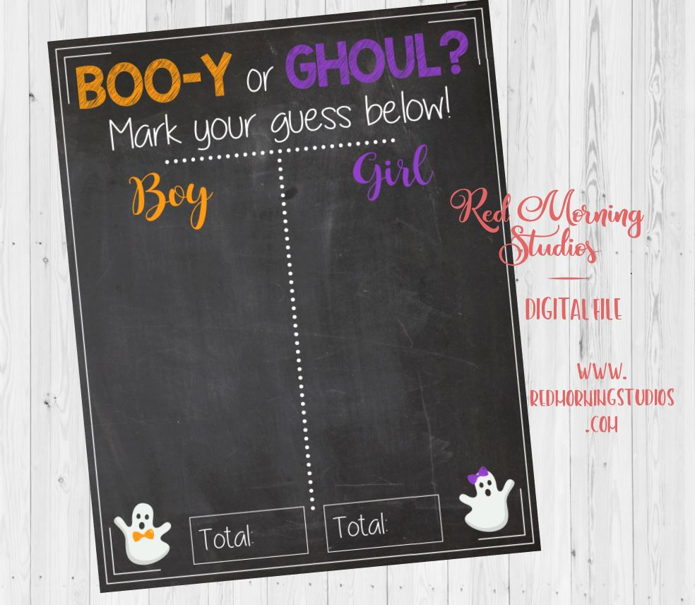 Halloween Gender Reveal Guess Sign. PRINTABLE. Boo-y or Ghoul. halloween gender reveal game. ghost decorations. PRINTABLE poster boy or girl