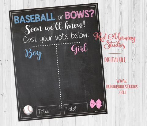 Baseball or Bows Gender Reveal Guess sign baby shower chalkboard PRINTABLE poster boy or girl