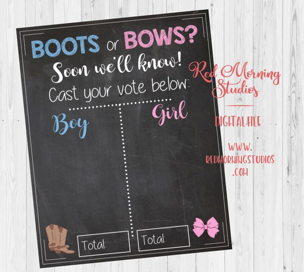 Boots or Bows Gender Reveal Guess sign. PRINTABLE baby shower chalkboard poster boy or girl