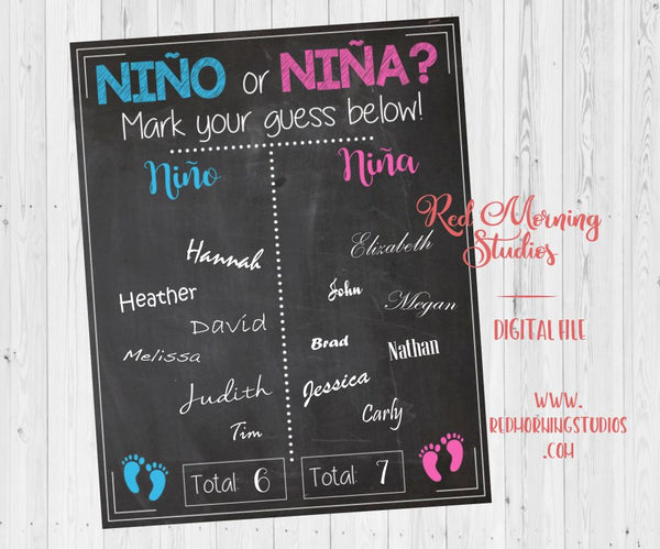 Fiesta nino or nina Gender Reveal Guess sign - PRINTABLE