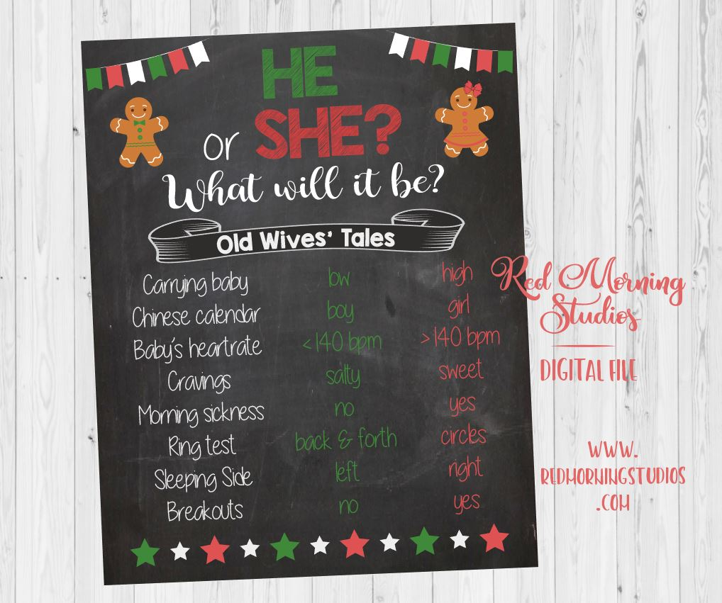 Christmas Old Wives' Tales sign. PRINTABLE. gingerbread Gender Reveal Guess. holiday baby shower chalkboard poster boy or girl red or green