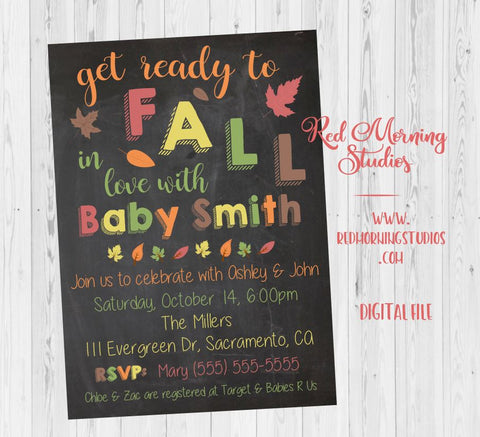 Fall Baby Shower Invitation. PRINTABLE. Fall in Love baby shower invitation. invite digital. autumn baby shower invitation. thanksgiving.