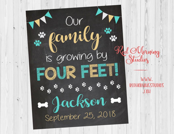 Dog Adoption sign. pet adoption announcement sign. PRINTABLE photo prop. our family is growing by four feet poster. rescue dog shelter dog