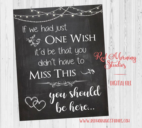 Deceased Loved Ones sign. In Loving Memory wedding sign. PRINTABLE chalk . if we had one wish, didn't have to miss this. You should be here