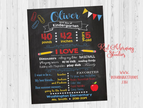1st Day of Kindergarten sign. First day of kindergarten sign. custom chalkboard sign. Back to School photo poster.
