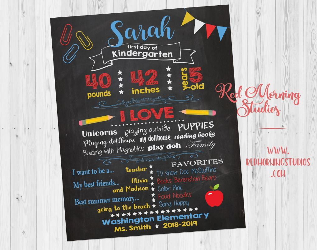 First Day of School chalkboard sign. custom 1st day of school chalkboard. 1st Day of school sign. 1st day of kindergarten sign.  photo prop