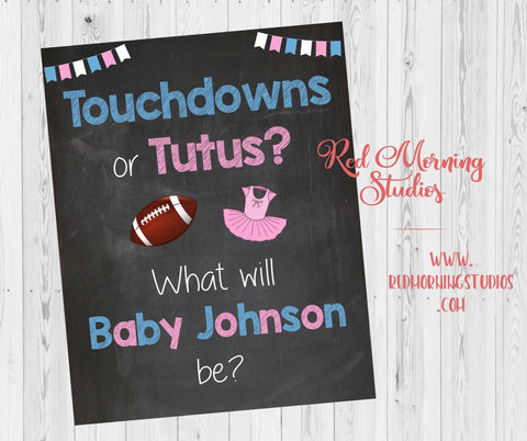 Touchdowns or Tutus Welcome sign. PRINTABLE. Gender Reveal Welcome Sign. Football or Cheerleading Sign. Gender Reveal Party decorations