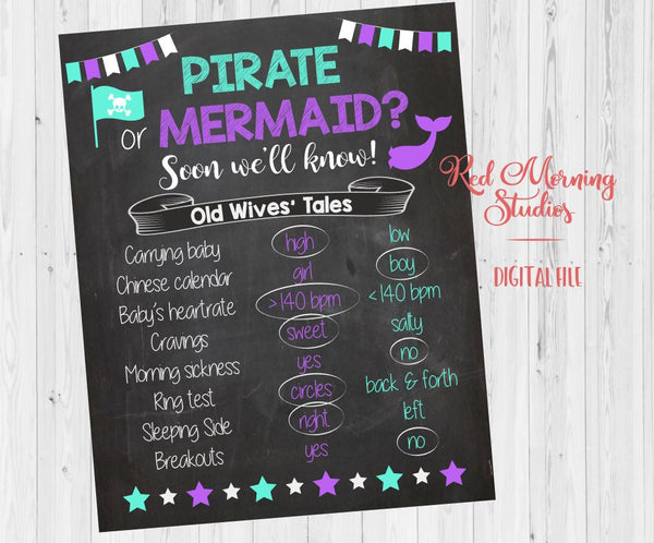 Pirate or Mermaid Old Wives' Tales sign, purple and teal - PRINTABLE