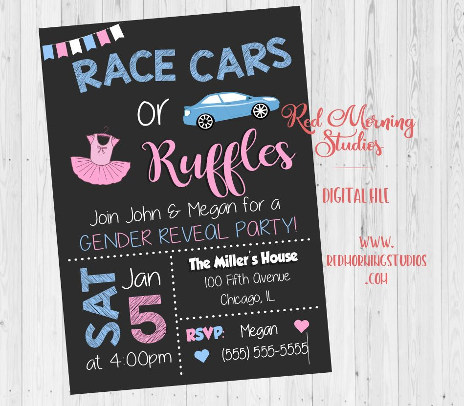 Race Cars or Ruffles Gender Reveal Party Invitation. PRINTABLE. car or tutu baby shower invite. racecar. digital boy or girl
