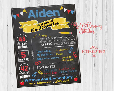 First Day of Kindergarten sign. 1st day of kindergarten sign. custom kindergarten chalkboard sign. back to school photo prop poster