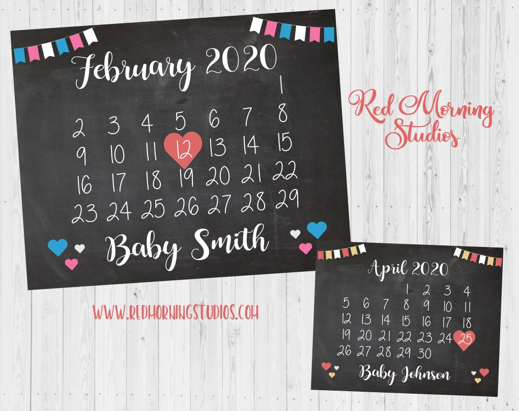 Calendar Pregnancy Announcement. Calendar Pregnancy Reveal Sign. New Baby Due Date Sign. Maternity Photo Shoot prop. Blue and Pink
