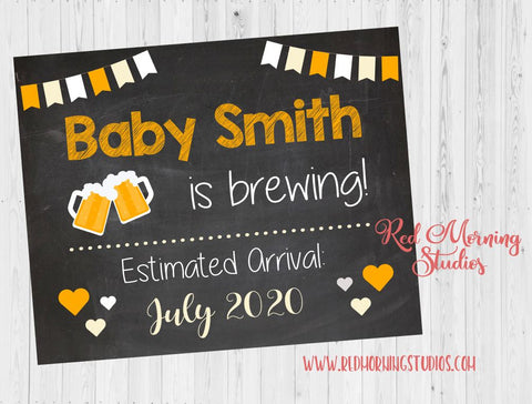 Beer Pregnancy Announcement sign. Beer brewing pregnancy reveal. new baby chalkboard photo prop chalkboard digital instant download brew