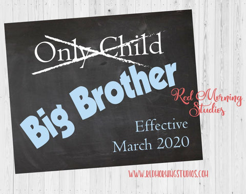 Big Brother Pregnancy Announcement Sign. Only Child Expiring. Big Brother pregnancy reveal poster. new baby.