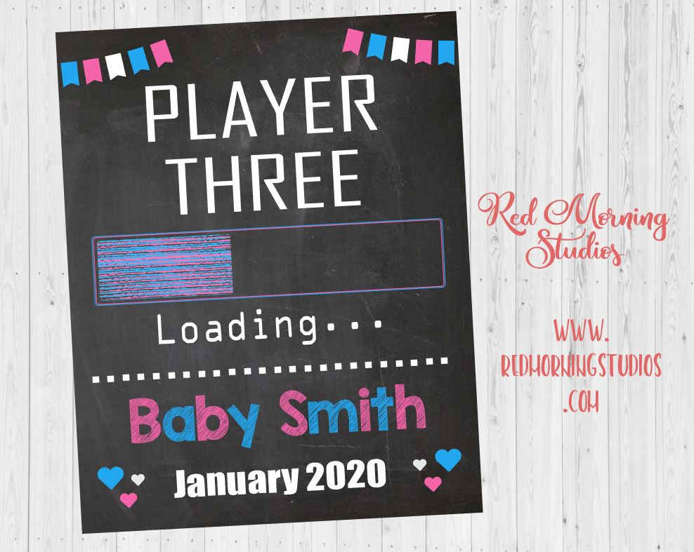 Video Game Pregnancy Announcement Sign. Gamer Pregnancy Reveal photo prop. Big Brother Sister pregnancy sign. player two three loading.