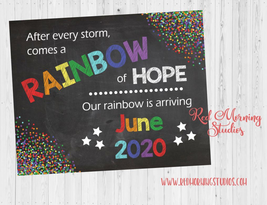 Rainbow Baby Pregnancy Announcement Sign. Rainbow Pregnancy Reveal sign. Rainbow Baby Poster. PRINTABLE new baby photo prop maternity