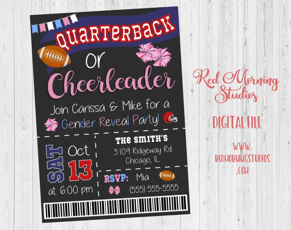 Quarterback or Cheerleader Gender Reveal Party Invitation. PRINTABLE. football gender reveal party ticket invitation. invite boy or girl