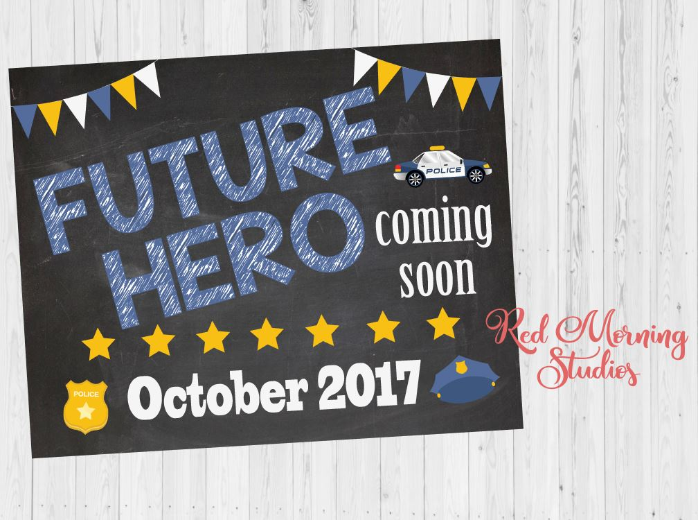 Police Pregnancy Announcement Sign. Police Pregnancy Reveal poster. Future Hero cop new baby chalkboard police officer