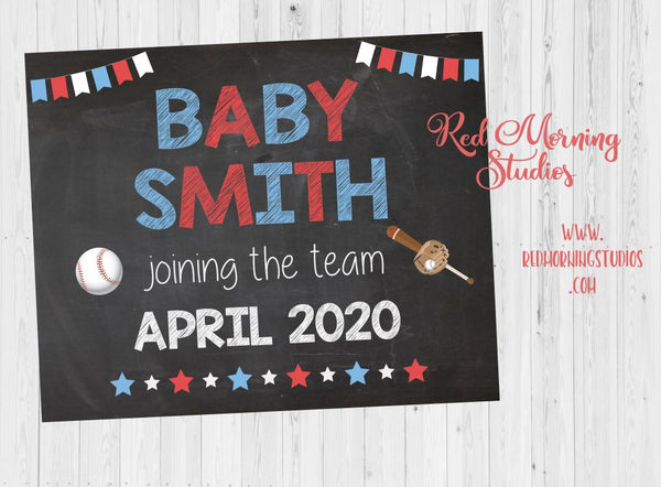 Baseball Pregnancy Announcement sign. PRINTABLE Baseball New Baby Chalkboard. athlete. DIGITAL chalk board poster. photo prop. base ball. new baby joining the team