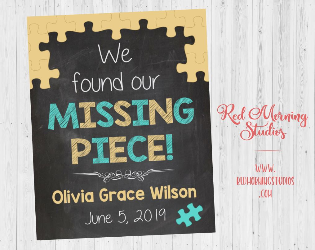 Adoption Day sign. Missing Piece. Adoption Announcement Sign. Adopt Photo Prop. custom personalized Chalkboard poster. printable