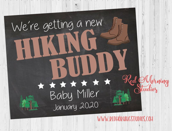 Hiking Pregnancy Announcement Sign. Outdoors Pregnancy Reveal poster. new baby camping chalkboard poster New Hiking Buddy