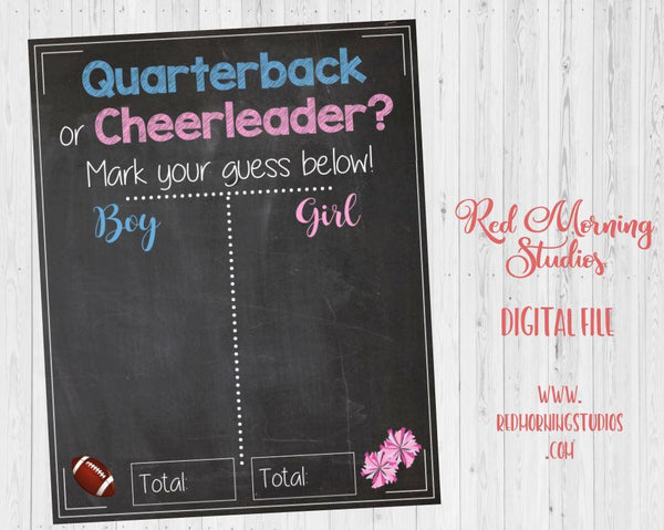 Quarterback or Cheerleader Gender Reveal Guess sign. Football or cheerleading baby shower sign. PRINTABLE poster boy or girl
