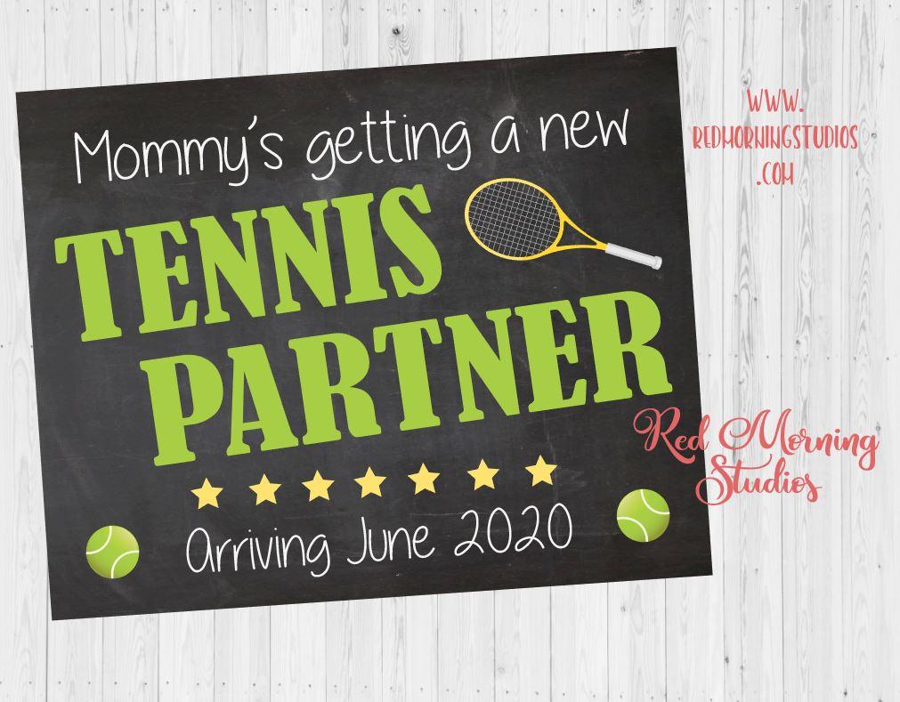 Tennis Pregnancy Announcement Sign. Tennis pregnancy reveal sign. social media image. new baby. tennis partner.