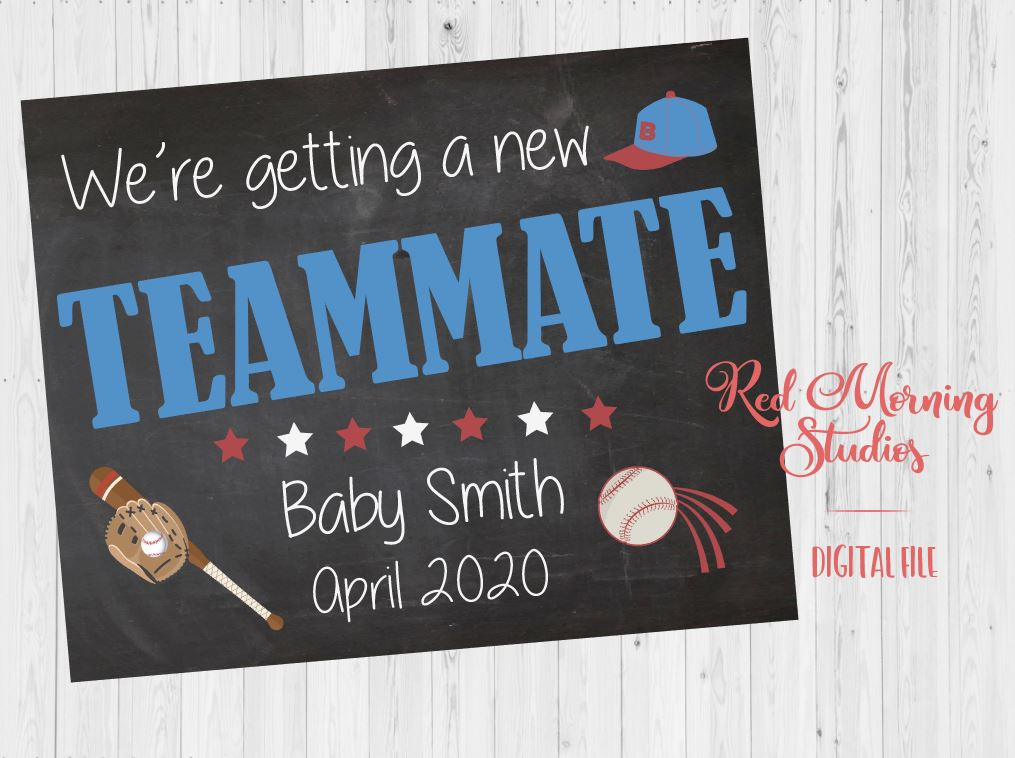 Baseball Pregnancy Announcement sign. Baseball Pregnancy Reveal poster. Getting a New Teammate New Baby Chalkboard
