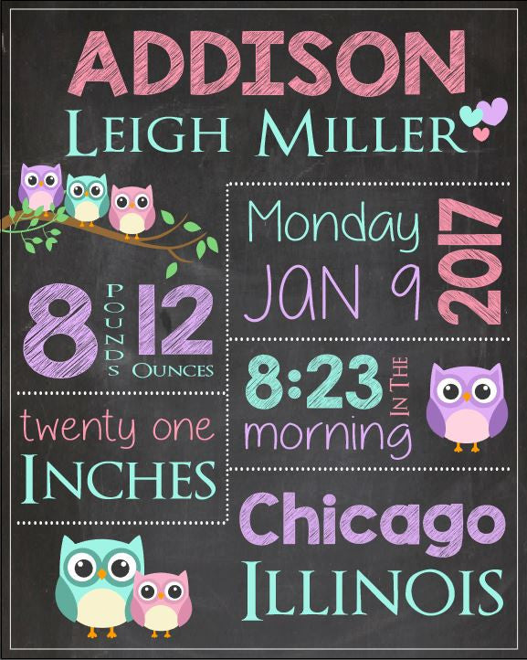 Owl Birth Announcement Sign. PRINTABLE new baby gift Owl nursery theme custom art. Owl birth stats. chalkboard print