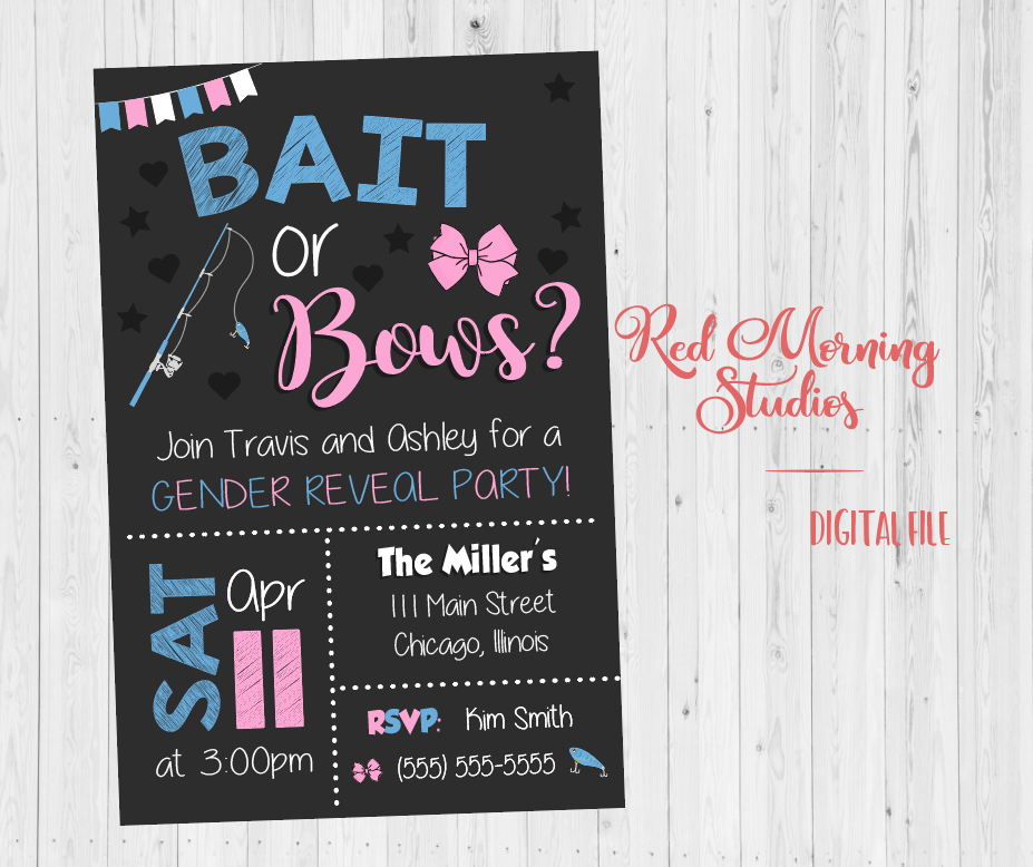 Bait or Bows Gender Reveal Party Invitation - PRINTABLE