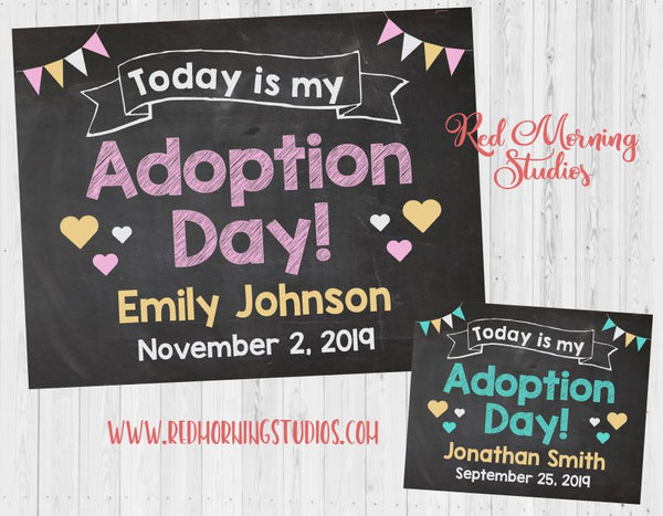 Adoption Announcement sign. Girl adoption. PRINTABLE. custom personalized chalkboard adoption day poster
