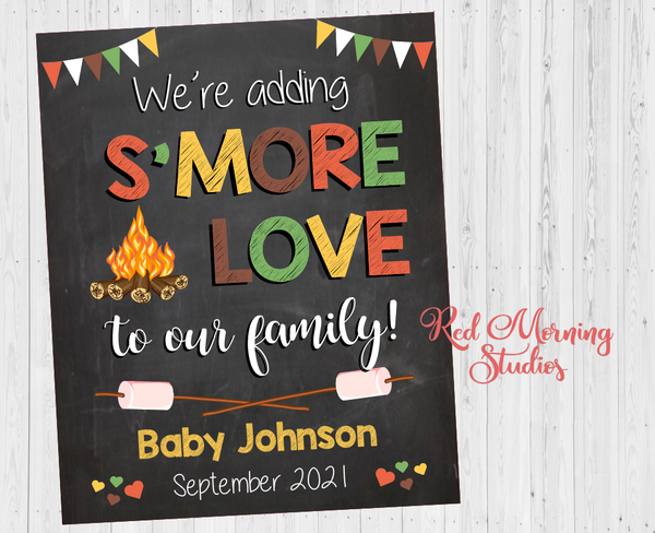 Camping Pregnancy Announcement Sign. Fall Pregnancy Reveal Sign. S'more Love poster. New Baby Announcement photo prop. Camp fire