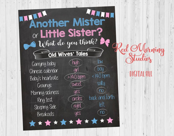 Another Mister or Little Sister Old Wives' Tales sign - PRINTABLE