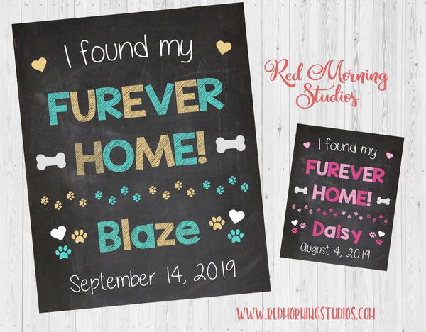 Girl Pet Adoption Announcement Sign - Furever Home