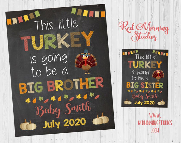 Thanksgiving Big Brother Pregnancy Announcement Sign. Thanksgiving pregnancy reveal sign. this little turkey. sibling reveal. photo prop