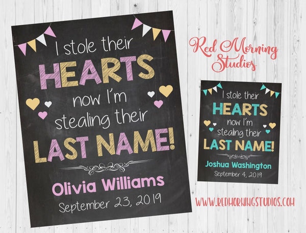 Girl Adoption Announcement sign. PRINTABLE chalkboard adoption day poster. pink i stole their hearts now stealing last name custom