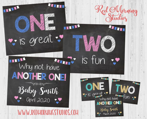 Third Baby Announcement sign. Sibling Pregnancy Reveal. Baby #3 pregnancy announcement posters. new baby social media. 3rd child. blue pink
