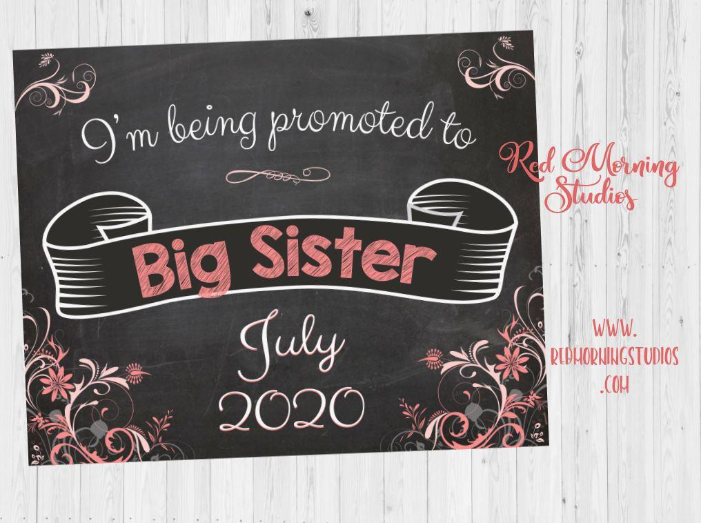 Big Sister Pregnancy Announcement Sign. Big Sister Pregnancy Reveal. new baby chalkboard poster I'm being promoted to big sister