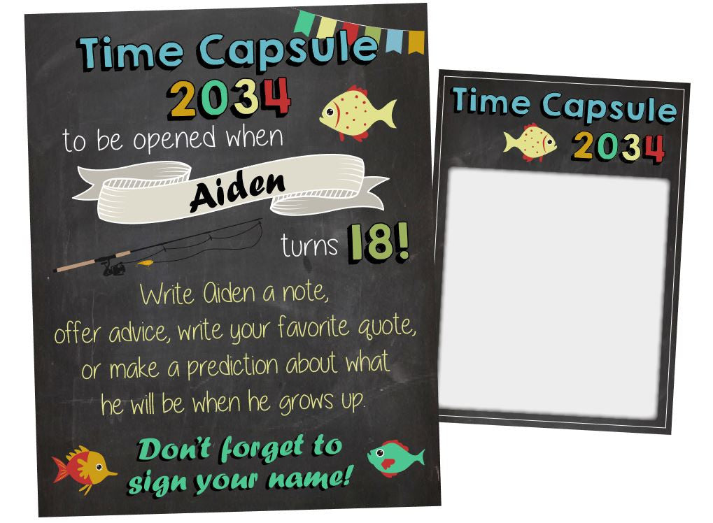 Fishing Birthday Time Capsule. PRINTABLE. fish birthday time capsule. ofishially one birthday game. fish birthday decorations