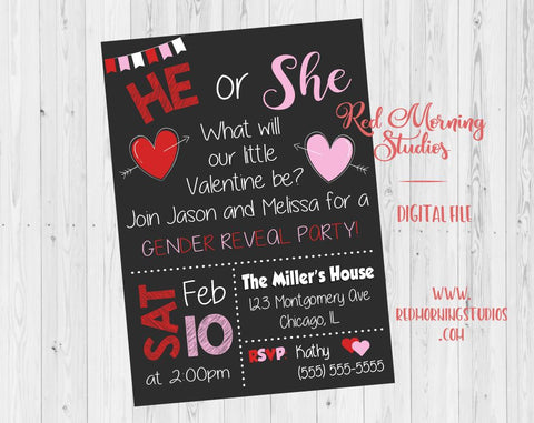 Valentine Gender Reveal Party Invitation. PRINTABLE baby shower invite. he or she what will it be. heart gender reveal party invite. digital