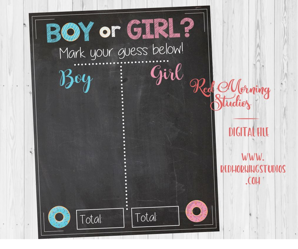 Donut Gender Reveal Guess sign - PRINTABLE – Red Morning ...