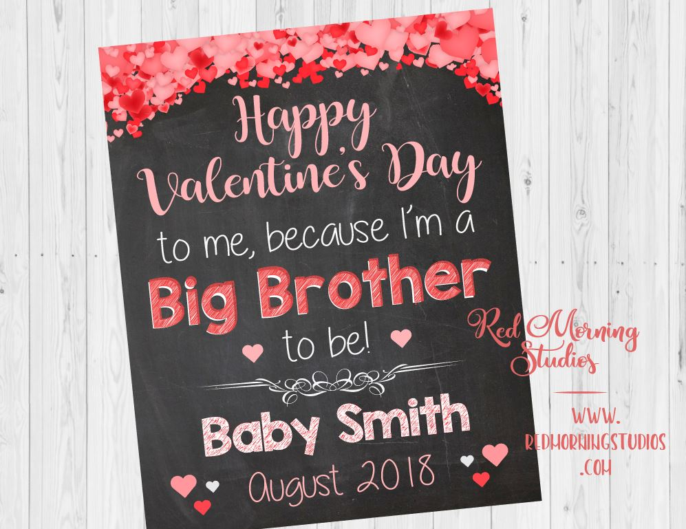 Valentines Day Big Brother Pregnancy Announcement. Sibling New Baby sign. oldest child second. Valentine's Day pregnancy reveal. sibling