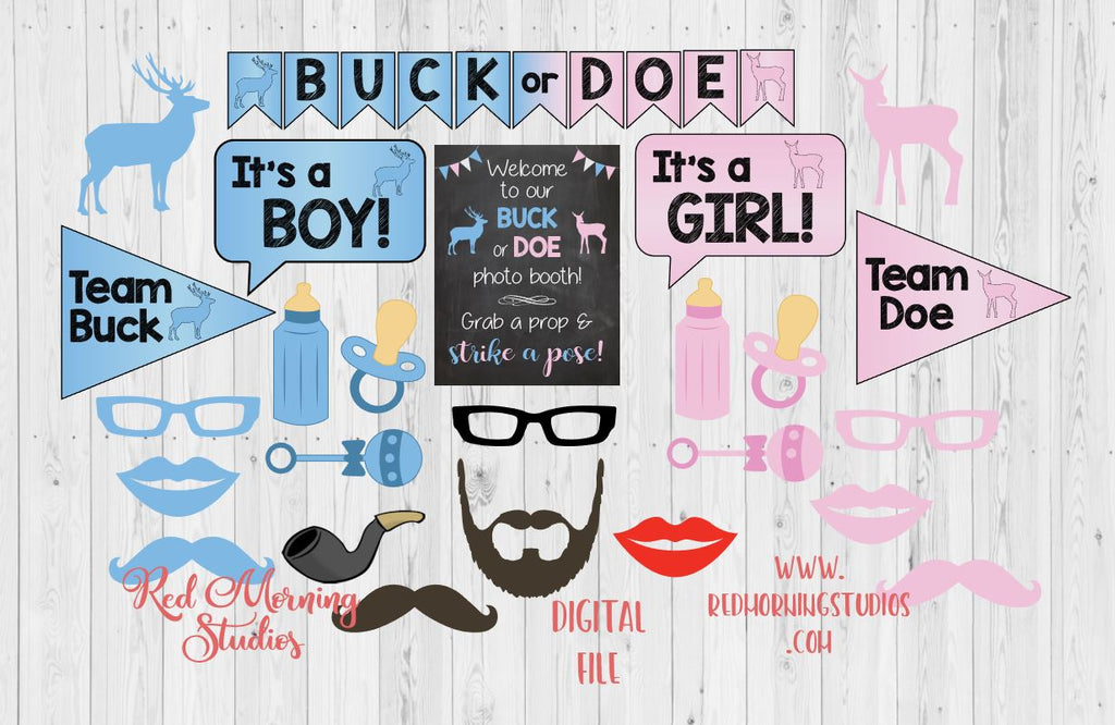 Buck or Doe Photo Booth Props. PRINTABLE. Buck or Doe Gender Reveal Party photo booth. photobooth. party games. decorations.