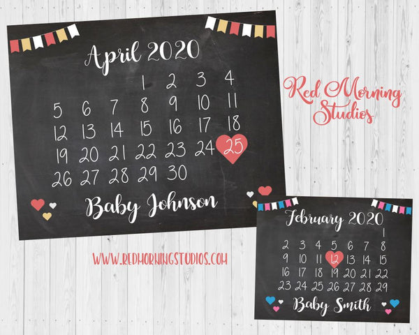 Calendar Due Date Pregnancy Announcement Sign
