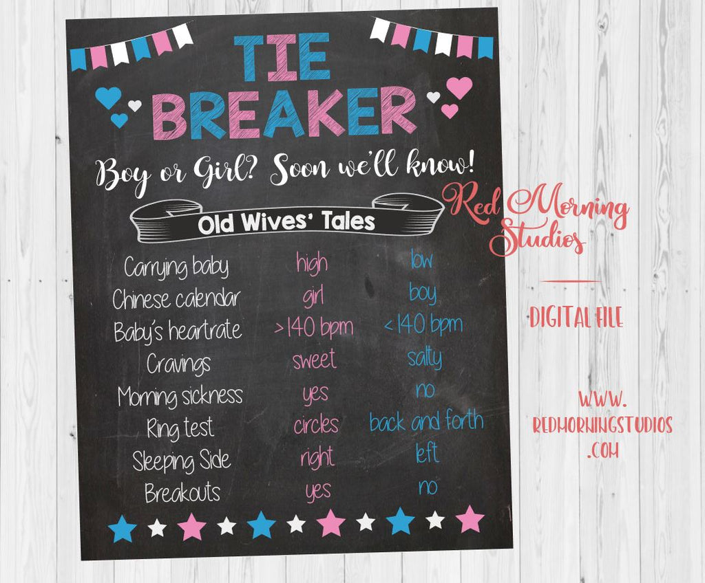 Tiebreaker Old Wives' Tales sign. PRINTABLE Gender Reveal Guess. baby shower chalkboard poster boy or girl. tiebreaker Party Game