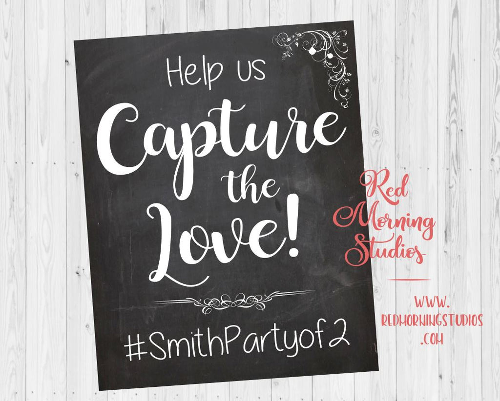 Wedding Hashtag sign. chalkboard Wedding Photo booth sign. Capture the Love. Wedding custom hash tag photobooth. selfie station