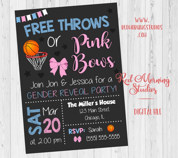 Free Throws or Pink Bows Invitation. PRINTABLE. Basketball or Bows Gender Reveal Invitation. Basketball or Bows baby shower. invite digital