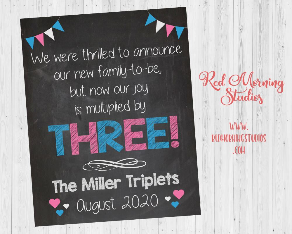 Triplet Pregnancy Announcement Sign. Triplet Pregnancy Reveal poster. new baby chalkboard poster multiples twins