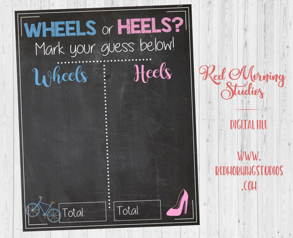 Wheels or Heels Bicycle Gender Reveal Guess sign. Bike Gender Reveal theme. PRINTABLE baby shower chalkboard poster boy or girl. cyclist