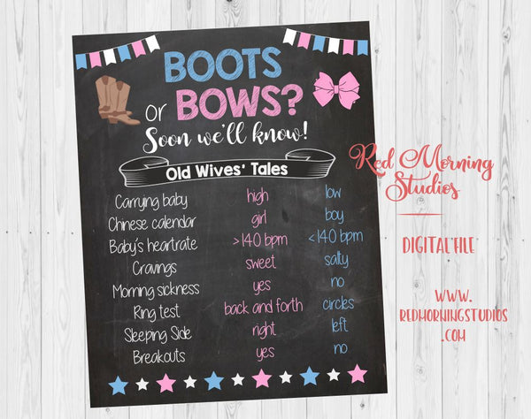 Boots or Bows Old Wives' Tales sign PRINTABLE Gender Reveal Guess baby shower chalkboard poster boy or girl Sales channels Manage Available on 2 of 3  Online Store  BuzzFeed Pinterest Needs to be a shippable product. Can't be a digital good. Organization Product type  Gender Reveal Vendor  Red Morning Studios Collections  Search for collections Baby Shower and Gender Reveal Parties  Tags View all tags  Vintage, cotton, summer Old Wives Tales Gender Reveal Boots or Bows Baby Shower