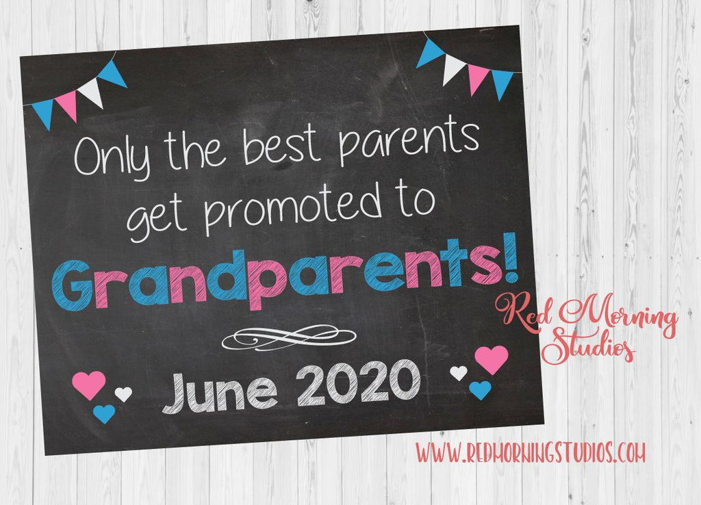 Grandparents New Baby Announcement sign. Going to be Grandparents. Pregnancy chalkboard photo prop. Only the best parents get promoted